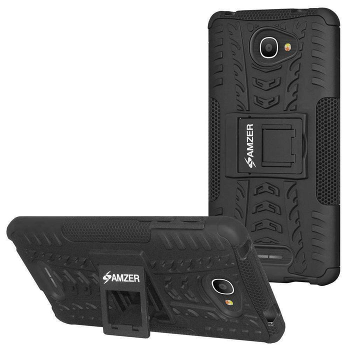 AMZER Shockproof Warrior Hybrid Case for Alcatel Pop 4s - Black/Black
