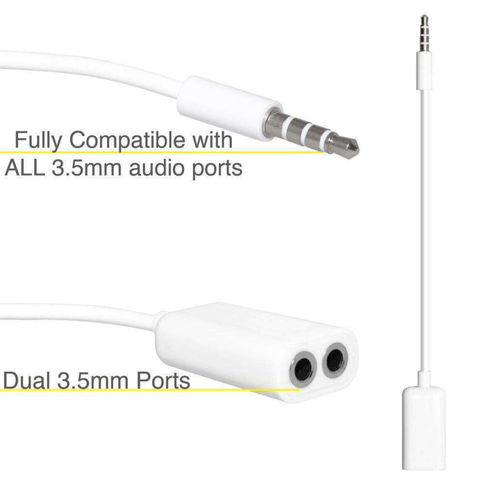 3.5mm Male to Dual 3.5mm Female Audio Splitter Cable - White - fommystore