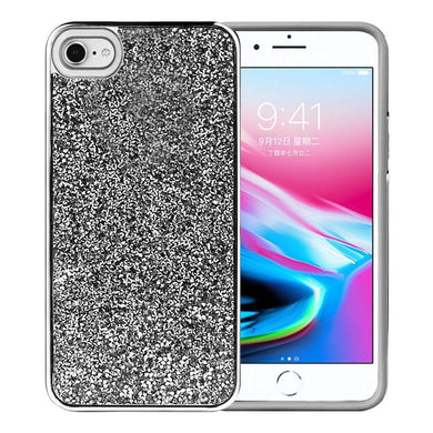 AMZER Rhinestone Diamond Platinum Collection Hybrid Bumper Case for  iPhone 7, iPhone SE 2020