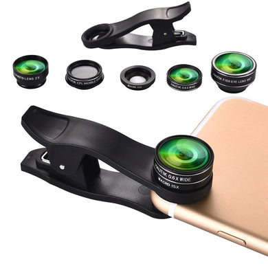Universal Clip-On 3 IN 1 Fisheye Wide Angle Smartphones Macro Camera Lens - Black