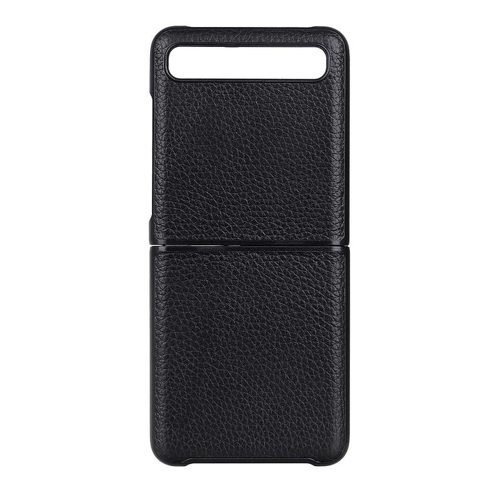 AMZER Litchi Texture Genuine Leather Folding Protective Case for Samsung Galaxy Z Flip - Black