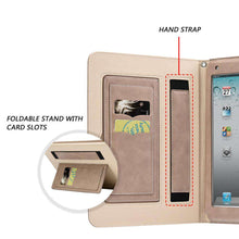 Load image into Gallery viewer, AMZER® Workman Leather Slim-Fit Folio Smart Folding Case With Hand Strap - Beige for Apple iPad Pro 9.7 - amzer
