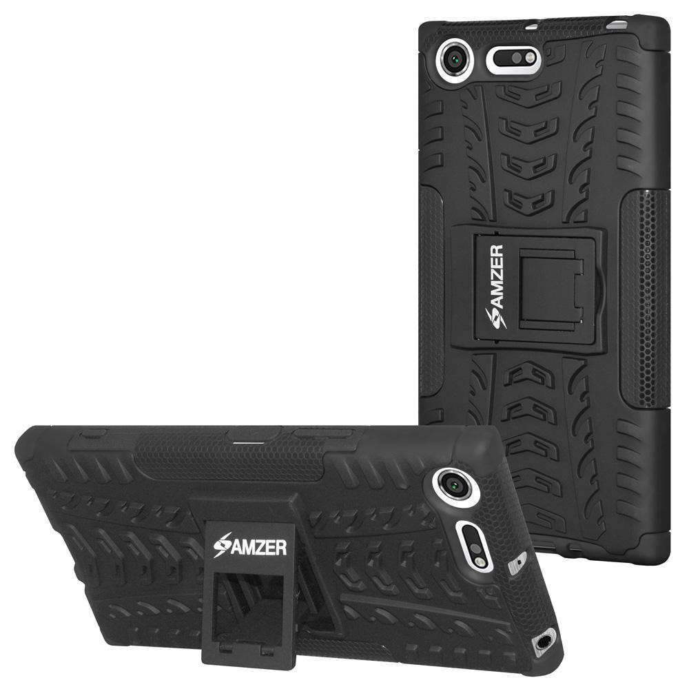 AMZER Shockproof Warrior Hybrid Case for Sony Xperia XZ Premium - Black/Black - amzer