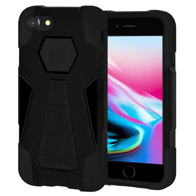 AMZER Dual Layer Hybrid KickStand Case for iPhone 8 - Black/Black