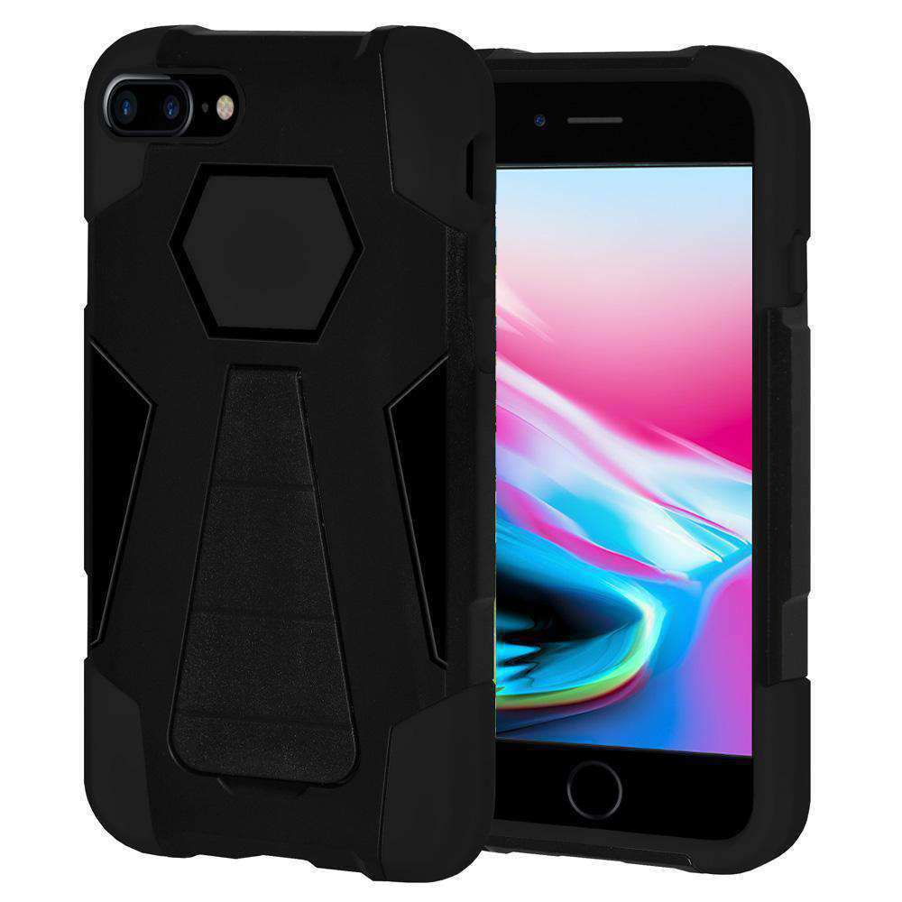 AMZER Dual Layer Hybrid KickStand Case for iPhone 8 Plus - Black/Black - amzer