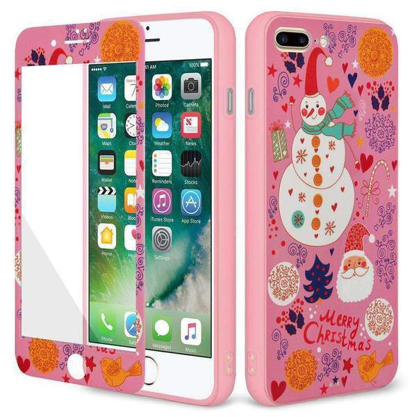 AMZER Winter Wonderland Full Body Holiday Hybrid Case for iPhone 7 Plus - Pink