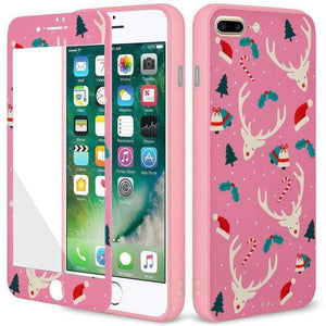 AMZER Reindeer Full Body Holiday Hybrid Case for iPhone 7 Plus - Pink