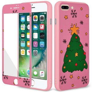 AMZER Holiday Tree Full Body Hybrid Shockproof Cover for iPhone 7 Plus - Pink