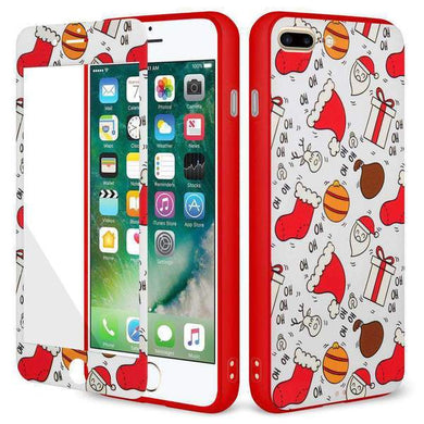 AMZER Holiday Ho Ho Ho Full Body Hybrid Case for iPhone 7 Plus - Red