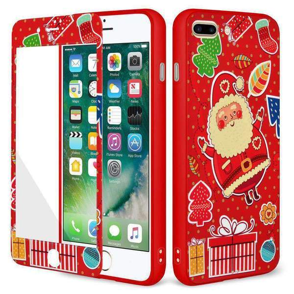 AMZER Holiday Santa Full Body Hybrid Case for iPhone 7 Plus - Red