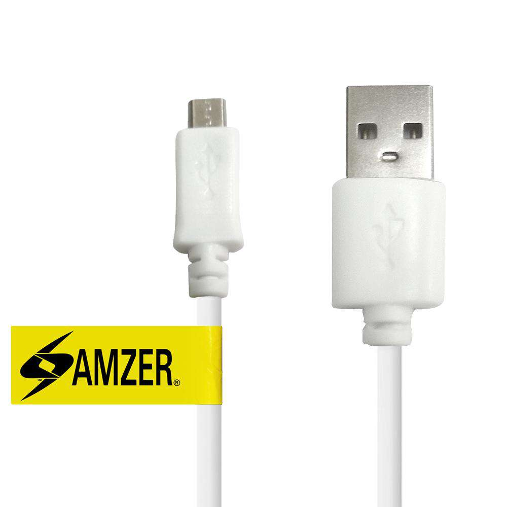 Amzer® Universal Micro USB to USB 2.0 Data Sync and Charge Cable 1ft. - White
