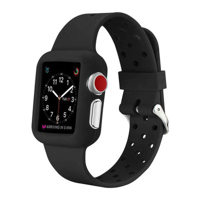 AMZER® 38MM High Quality Silicone Watch Band Strap - Black for Apple Watch Series 1 - amzer