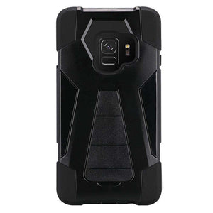 AMZER Dual Layer Hybrid KickStand Case for Samsung Galaxy S9 - Black/Black
