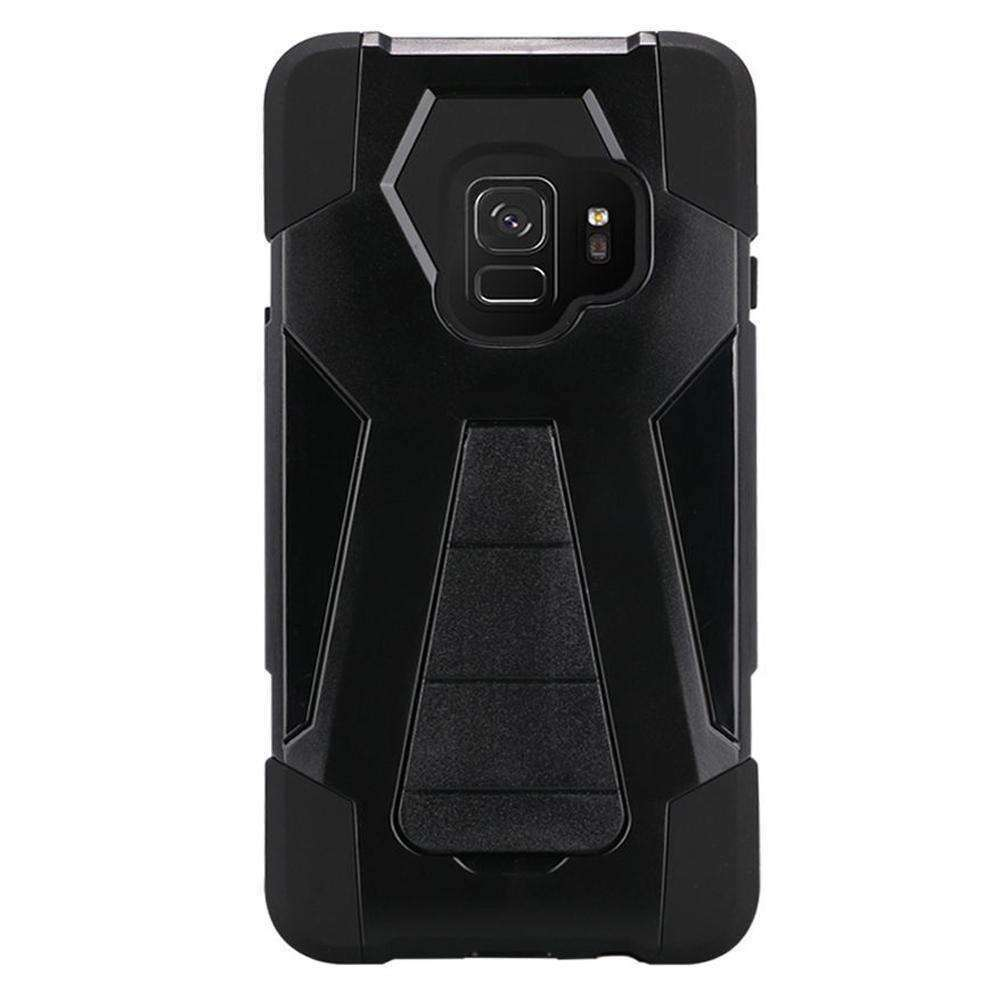 AMZER Dual Layer Hybrid KickStand Case for Samsung Galaxy S9 - Black/Black - amzer