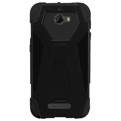 AMZER Dual Layer Hybrid KickStand Case for Coolpad Defiant - Black/Black