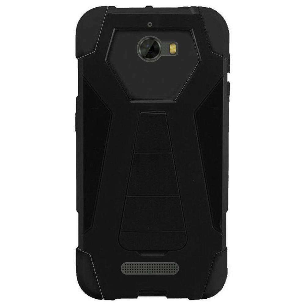 AMZER Dual Layer Hybrid KickStand Case for Coolpad Defiant - Black/Black - amzer