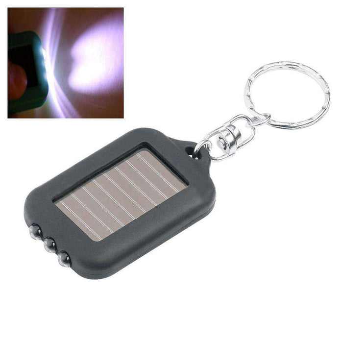 Mini Solar Power Recharge 3 LED Light Torch Key Chain - Black