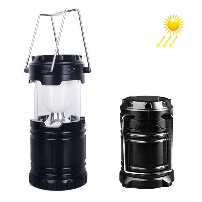 Rechargeable Lantern Solar Camping Lamp Outdoor Lighting Portable Camping Lantern - Black - amzer