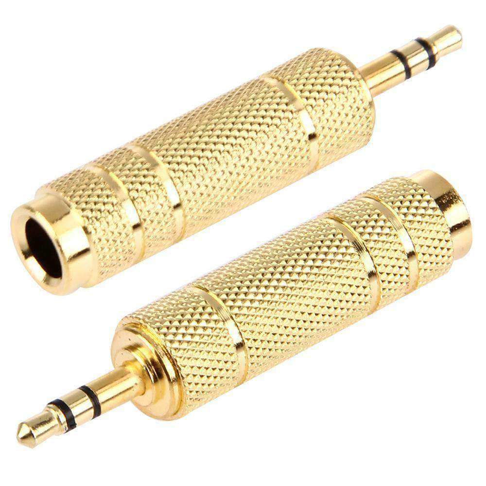AMZER Gold Plated 3.5mm Plug to 6.35mm Stereo Jack Socket Adapter - amzer