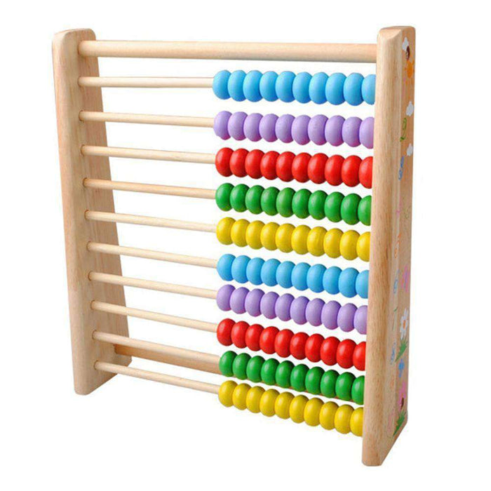 Wooden Kids Math Toys Wooden Abacus Teaching Learning Educational Preschool Training - amzer