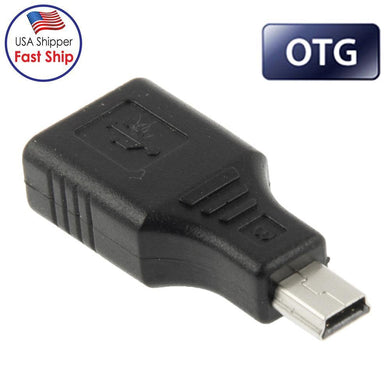 AMZER Mini USB Male to USB 2.0 Female Adapter with OTG Function - Black