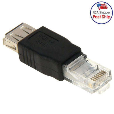 AMZER® RJ45 Male to USB AF Adapter - Black - amzer