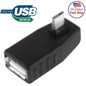 AMZER® Micro USB Male to USB 2.0 AF Adapter with 90 Degree Angle, Support OTG Function - Black