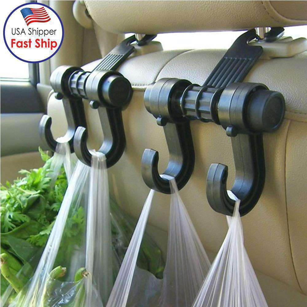 2 PCS Car Vehicle Multi-functional Seat Headrest Bag Hanger Hook Holder Double Hooks - Black - amzer