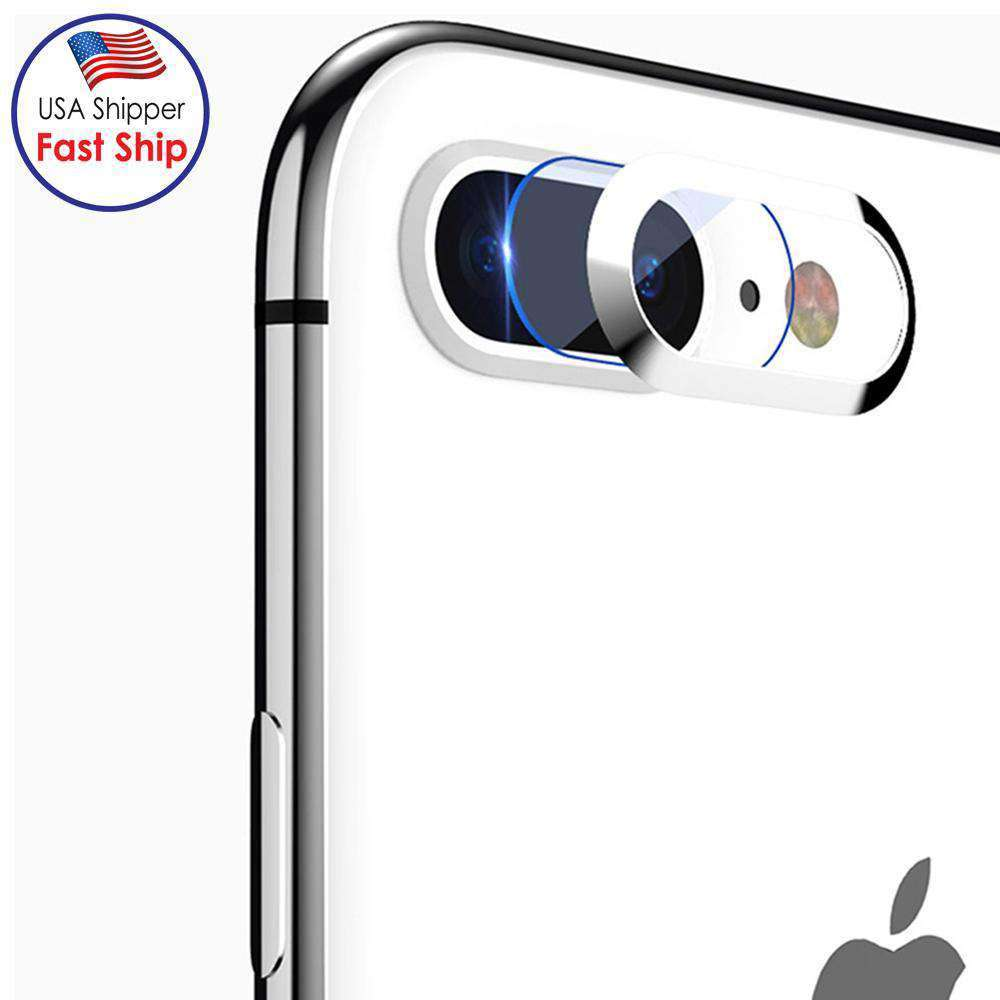 HD Tempered Glass Camera Lens Protective Film Set - Silver for iPhone 7 Plus