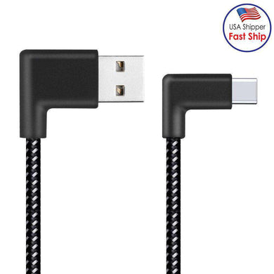 AMZER® 20cm 2A USB to USB-C / Type-C Nylon Weave Style Double Elbow Data Sync Charging Cable - Black