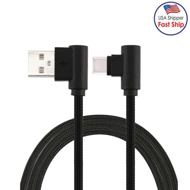 AMZER® 25cm USB to USB-C / Type-C Nylon Weave Style Double Elbow Charging Cable - Black