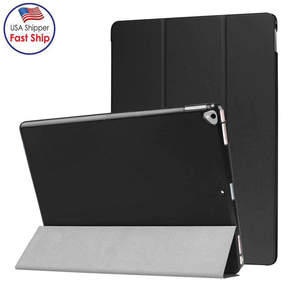AMZER Flip Leather Case W Sleep Wake Feature for iPad Pro 12.9 Inch - Black - amzer