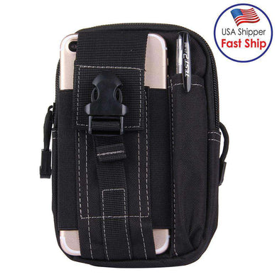Multifunctional Outdoor Travelling Waist Bag Protective Case Card Pocket Wallet with Belt Bandage Binding Tape - Black