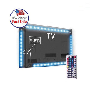 4 x 50cm USB TV Rope Light, 3W IP65 Waterproof 30 LEDs SMD 5050 With 44-keys Remote Controller - amzer