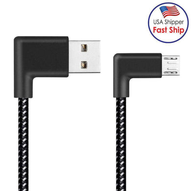 AMZER® 1m 2A USB to Micro USB Weave Style Double Elbow Data Sync Charging Cable - Black