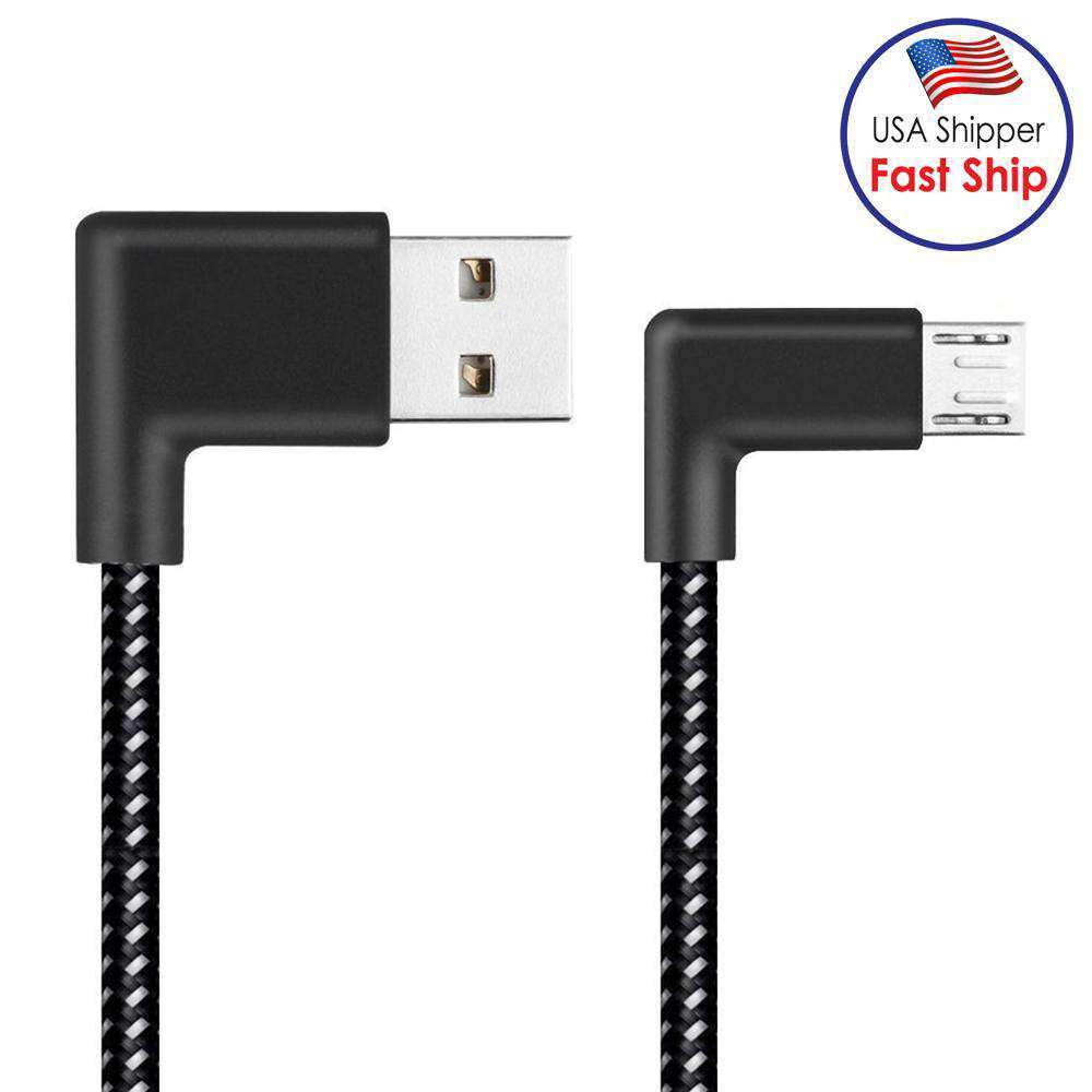 AMZER® 3m 2A USB to Micro USB Weave Style Double Elbow Data Sync Charging Cable - Black - amzer
