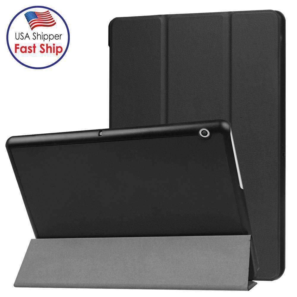 AMZER Flip Leather Case With 3 folding Holder for Huawei MediaPad T3 10 - Black