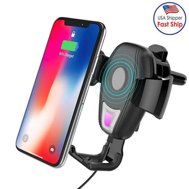 Wireless Charger Car Air Outlet Holder Charger For 4.7 inch to 6 inch Phones - Black - amzer
