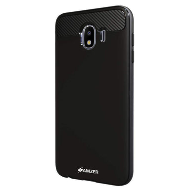 AMZER® Rugged Armor Flexible & Durable Shock Absorption Case with Carbon Fiber Design - Black for Samsung Galaxy J4