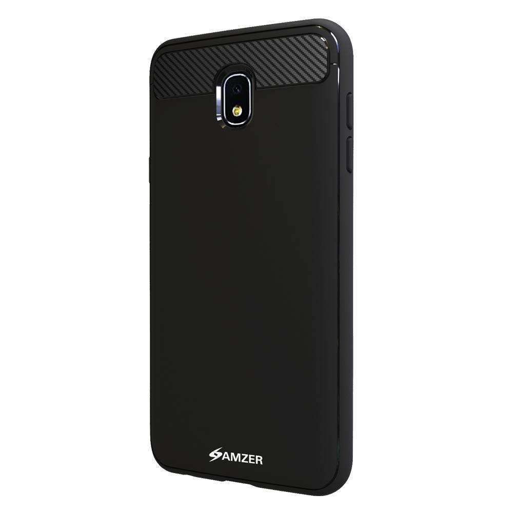 AMZER Armor Shock Absorption Case with Carbon Fiber Design for Samsung Galaxy J7 2018 - Black - amzer