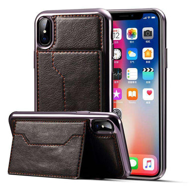 Electroplating TPU Crazy Horse Texture Protective Leather Case with Holder & Card Slots & Lanyard - for iPhone X/ iPhone Xs