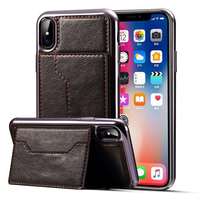 Electroplating TPU Crazy Horse Texture Protective Leather Case with Holder & Card Slots & Lanyard - for iPhone X - amzer