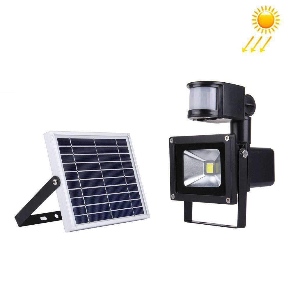 10W 900LM LED Infrared Sensor Floodlight Lamp with Solar Panel IP65 Waterproof - White Light