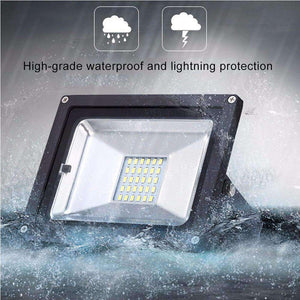 10W IP65 Waterproof Solar Power Flood Light 30 LEDs Smart Light with Solar Panel & Remote Control - amzer