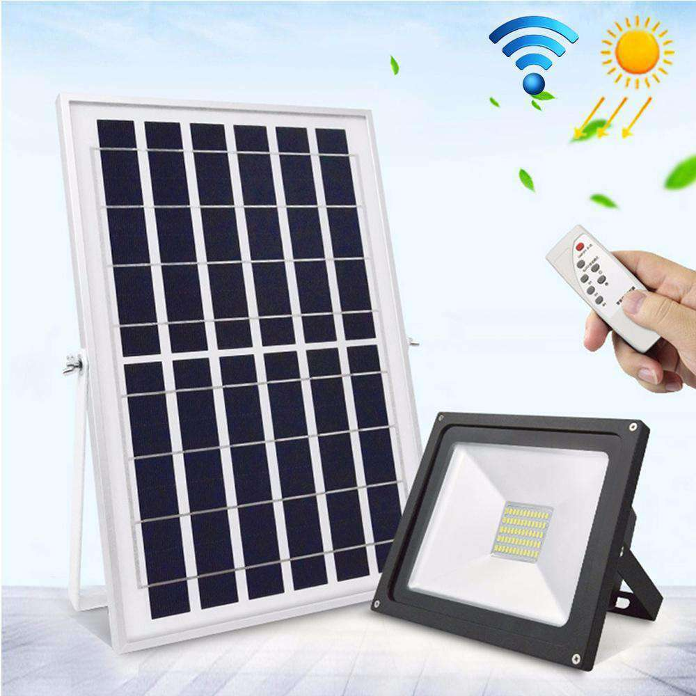 10W IP65 Waterproof Solar Power Flood Light 30 LEDs Smart Light with Solar Panel & Remote Control
