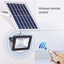 Load image into Gallery viewer, 10W IP65 Waterproof Solar Power Flood Light 30 LEDs Smart Light with Solar Panel & Remote Control - amzer