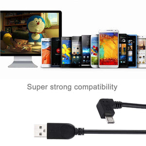 AMZER® 28cm 90 Degree Angle Right Micro USB to USB Data / Charging Cable - Black (Pack of 2) - fommystore