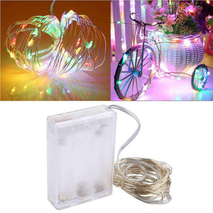 AMZER® IP65 Waterproof Multi-Color Light Silver Wire String Light 50 LEDs Fairy Lamp Decorative Ligh - amzer