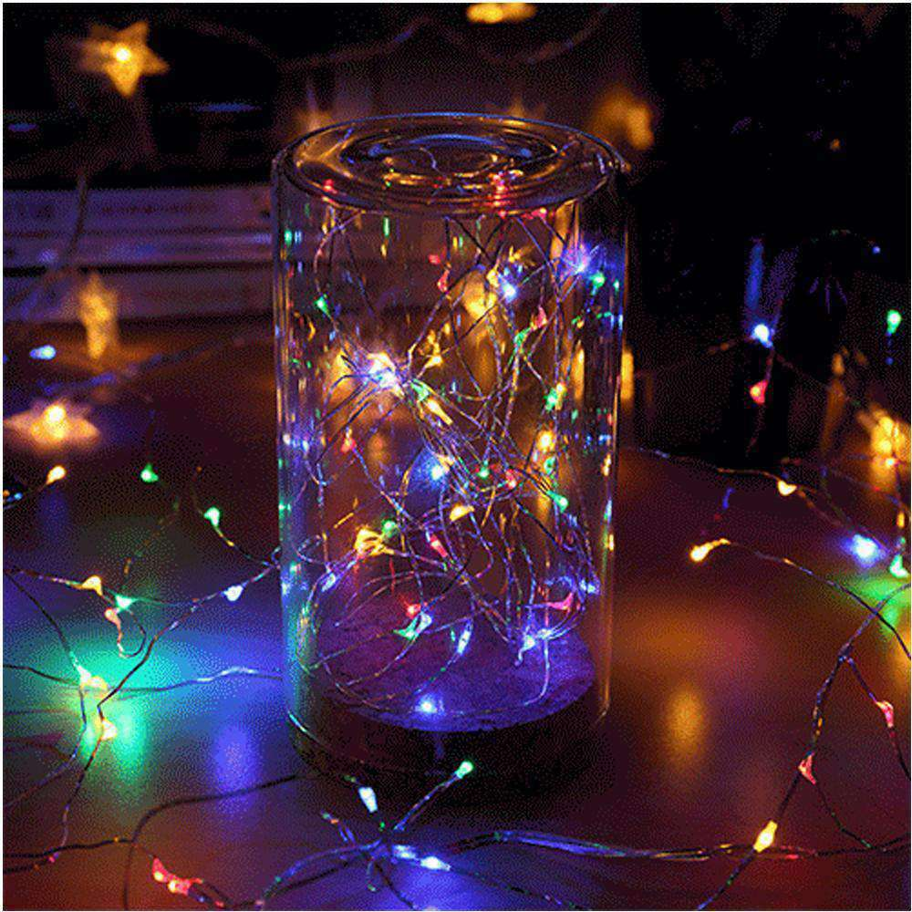 AMZER 10m IP65 Waterproof Silver Wire String Light 100 LEDs Fairy Lamp Decorative Light - Multi-Color Light - amzer