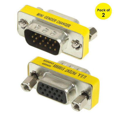 VGA 15Pin Male to VGA 15Pin Female adapter (Pack of 2)